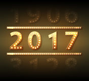 The 2017 new year symbol with light bulbs. Vector Royalty Free Stock Photos