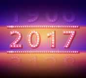 The 2017 new year symbol with light bulbs. Vector Royalty Free Stock Image
