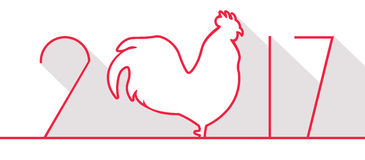 New year symbol with numbers. Symbol of new year, rooster and numbers in background. Card for holiday Stock Photos