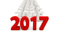 2017 New Year symbol with other years. 3D illustration Stock Images