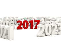 2017 New Year symbol with other years. 3D illustration Stock Image