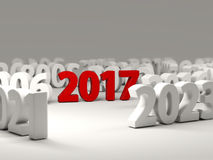 2017 New Year symbol with other years. 3D illustration Royalty Free Stock Photography