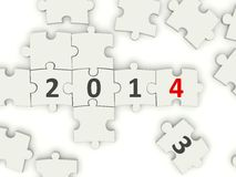 2014 New year symbol. On puzzle Stock Images