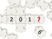 2017 New year symbol on puzzle. 3D illustration Royalty Free Stock Image