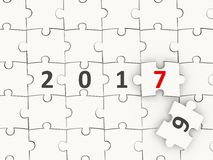 2017 New year symbol on puzzle. 3D illustration Stock Image