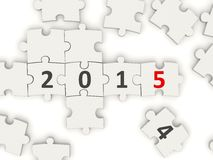 2015 New year symbol on puzzle. On white Royalty Free Stock Photography