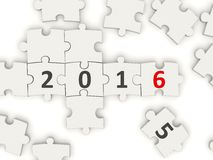 2016 New year symbol on puzzle. On white background Stock Image