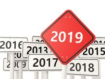 2019 New year symbol on a red road sign. 3D illustration stock illustration