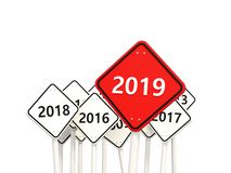 2019 New year symbol on a red road sign. 3D illustration vector illustration