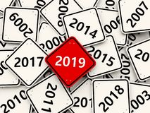 2019 New year symbol on a red road sign. 3D illustration royalty free illustration