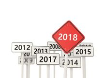 2018 New year symbol on a road sign. 3D illustration vector illustration
