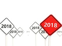 2018 New year symbol on a road sign. 3D illustration stock illustration