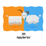 New Year symbol (Sheep. The symbol of New 2015 Year. Sheep and goat on abstract background Stock Image