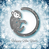 New Year symbol 2016 silver glitter monkey design, postcard, greeting card, banner. Vector illustration Royalty Free Stock Photo