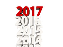2017 New Year symbol on top of other years. 3D illustration Stock Photography