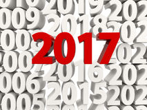 2017 New Year symbol on top of other years. 3D illustration Stock Images