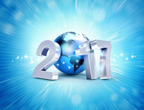 2017 New Year symbol for worldwide business. 2017 New Year type composed with a blue planet earth, on a shiny blue background - 3D illustration Stock Photography
