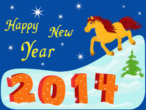 New Year 2014 with symbol of year a Horse. New Year composition with symbol 2014 year a running Horse, hand drawing vector illustration Royalty Free Stock Photos