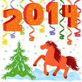 New Year 2014 and symbol of year a Horse. New Year composition and symbol 2014 year a running Horse, hand drawing vector illustration Stock Image