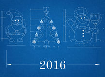 New Year Symbols 2016 - Blueprint. Shoot of the New Year Symbols 2016 - Blueprint Stock Photo