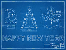New Year Symbols Blueprint. Tehnical drawing of New Year Symbols Blueprint Royalty Free Stock Images