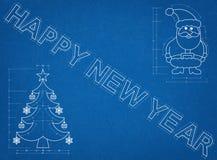New Year Symbols Blueprint Royalty Free Stock Image