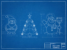 New Year Symbols Blueprint. Tehnical drawing of New Year Symbols Blueprint Stock Image