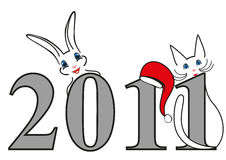 New Year symbols, Christmas illustration. New year symbols illustration, funny cat and rabbit with New Year date Royalty Free Stock Photo