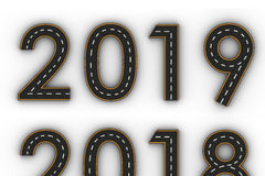 New year 2019 symbols of the Figures in the form of a road with white and yellow line markings Royalty Free Stock Photo