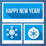 New year symbols in flat style with knitted Royalty Free Stock Photos