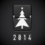 New Year symbols on scoreboard. Scoreboard New Year tree and 2014 number vector illustration