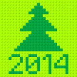 New Year symbols. New Year tree and 2014 in plastic construction kit texture Stock Images