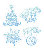 New Year Symbols. Vector illustrations of New Year objects in decorative style like frost ornament Stock Images