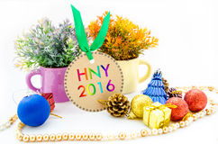 New year 2016 on tags and Christmas Royalty Free Stock Photo