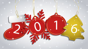 New Year tags on a snowy background. Vector illustration Vector Illustration