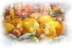 New Year. tangerines. mandarin. candle Royalty Free Stock Photo