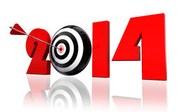 2014 new year and target arrow. 2014 new year and conceptual target arrow in white background. clipping path included Royalty Free Stock Photography