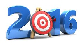 New year target. 3d illustration of new year 2016 sign with target vector illustration