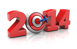 New year target. 3d illustration of new year sign with darts target, success in new year concept Stock Image