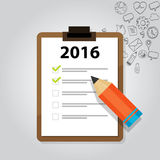 New year target resolution goals check mark pencil board flat vector graphic illustration concept. 2016 target resolution goals new year check mark pencil board stock illustration