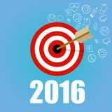 New year target resolution goals check mark pencil board flat vector graphic illustration concept. 2016 target resolution goals new year check mark pencil board Stock Photo