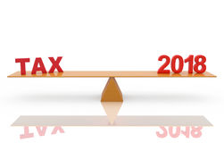New Year 2018 with Tax. 3D Rendered Image stock illustration
