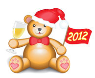 New Year Teddy Bear. Cute teddy bear is toasting with champagne and is holding in hand a flag with the inscription: 2012 royalty free illustration