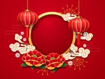 2019 new year template, chinese lantern, flowers. Chinese lantern, lamp and peony, daisy flowers, clouds and firework, salute as template for 2019 new lunar year vector illustration