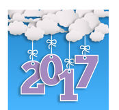 2017 new year template with cloud and numbers Stock Photos