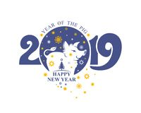 New Year template nice pig boar and christmas stars. Post stamp 2019. Happy New Year! Year of the Pig 2019 royalty free illustration