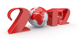 New Year. Text 2012 and earth. 3d stock illustration