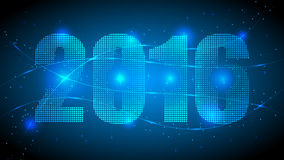2016 New Year Text. 2016 Year with Blue Abstract Dotted Background. Blue Lights, Lights Effect Background. Vector Illustration Royalty Free Stock Photography