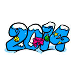 New Year Text 2014 cartoon Royalty Free Stock Images