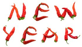 New year text composed of red chili peppers Stock Photos